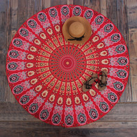New Round Polyester Aztec Print Beach Blanket Indian Mandala Tapestry