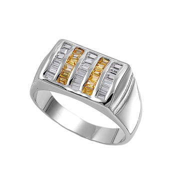 925 Sterling Silver CZ Five Rows Baguette Alternate Yellow Men's Ring 11MM