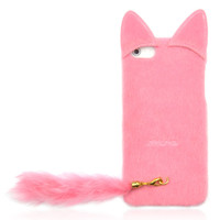 Pink Fluffy Cat with Tail Case for iPhone 4/ 4S