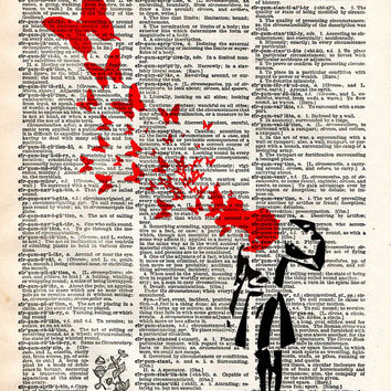 Banksy suicide woman and butterflies street art vintage dictionary page book art print