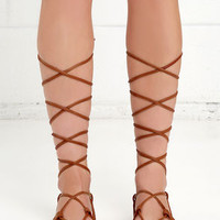 Kickin' It Cognac Brown Leg Wrap Sandals