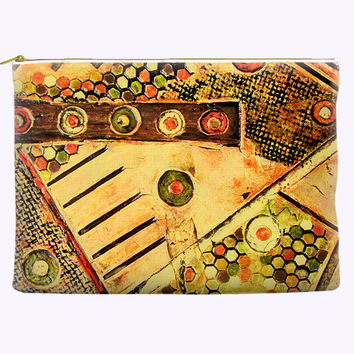 Modern Abstract Art Cosmetic Bag in brown, yellow and orange