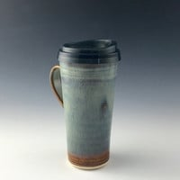 Pottery Travel mug / Commuter mug with silicone lid - Natural-blue
