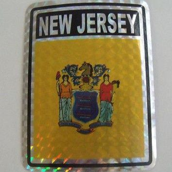 "New Jersey Flag Reflective Sticker 3""x4"" Inches Adhesive Car Bumper Decal"