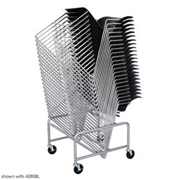 Safco Sled Base Office Industries Wheeled Portable Folding Stacking Chair Storage Cart Dolly Silver