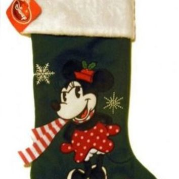 "18"" Disney Classic Minnie Mouse with Scarf Applique Christmas Stocking"