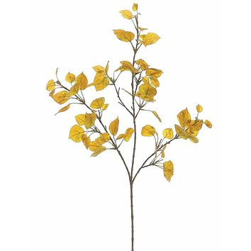 "Artificial Aspen Leaf Spray in Yellow Gold - 40"" Tall"