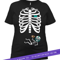 Pregnant Halloween T Shirt Birth Announcement Pregnant Mom Gifts New Baby Shirt Skeleton Costume TShirt Mommy To Be Ladies Tee MAT-800