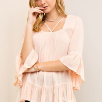 Ruffle Sleeve Strappy Top
