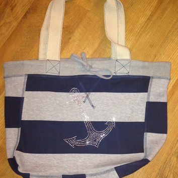 Rhinestone Anchor Cotton Beach Tote Bag by MadJoApparel on Etsy