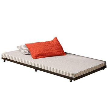 Useful Twin Roll-Out Trundle Bed Frame in Black by Walker Edison