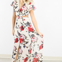 Bloom & Blossom Rose Print Open Back Maxi Dress