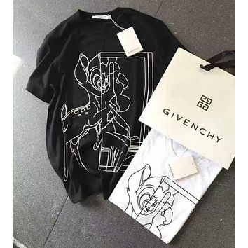 Givenchy Classic Popular Woman Men Stylish Deer Print Scoop Neck Tunic Shirt Top I/A