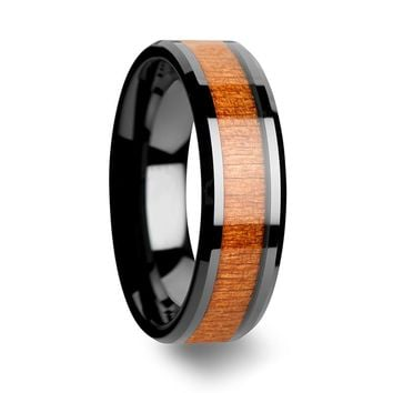 Black Cherry Wood Inlaid Black Ceramic Wedding Band Beveled Edges 6mm - 10mm