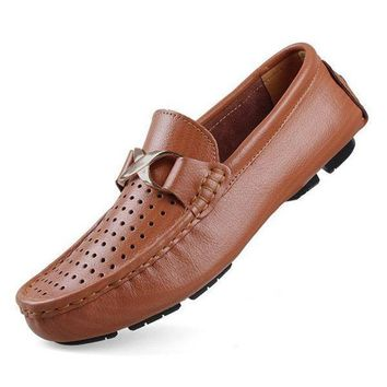 DCK7YE Brand Hot Sale Big Size Genuine Leather Men Loafers, High Quality Slip On Men Leather