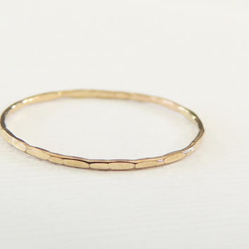 Ready To Ship, Solid 14k Gold Ring, Stacking Ring, Hammered Texture, Skinny Ring, Size 8.5, Gold Stacking Ring, Thumb Gold Ring