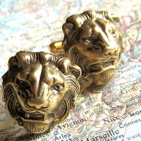 Men's Cufflinks Brass Lion Cufflinks BIG & Bold Brass Cufflinks Vintage Inspired Style Victorian Gothic Safari Animals Men's Gift Boxed
