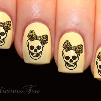 Skull Bow Nail Wrap Art  Water Transfer Decals 16pcs by azzai
