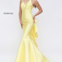 Sherri Hill 50195 Evening Dress with Ruffle Back Drape - French Novelty