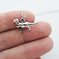 Dinosaur T-Rex Retro Style Charm Necklace- Land Before Time- Dino Jewelry- 925 Sterling Silver Chain