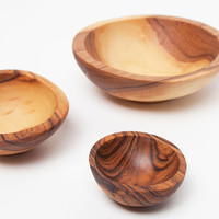 Olive Wood Condiment Bowl Set