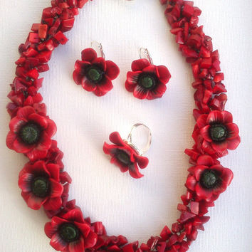 Coral red jewellery-Red poppy flower- Chunky necklace-Flower earrings-Flower ring