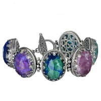 Gerochristo 6270N ~ Sterling Silver Medieval Multi-Stone Link Bracelet with Doublet Stones