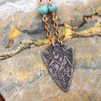 Turquoise and Arrowhead Necklace Mountains Pine Trees Moon