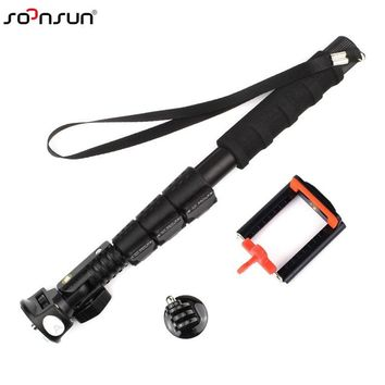 SOONSUN Telescopic Aluminum Extendable Monopod Pole+Phone Clip Holder+Tripod Mount Adapter for GoPro Hero 2 3 3+ 5 6 Cell Phone