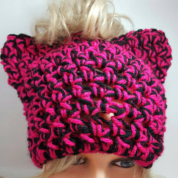 Messy bun PUSSYHATS pink cat hat Womens Hats winter hat Womens Cancer Headwear Pussyhat project Made by Bead Gs on ETSY.