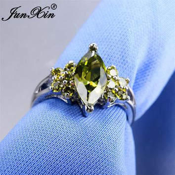 JUNXIN Brand Female Peridot Ring Fashion White Gold Filled Jewelry Vintage Wedding Rings For Women Birthday Stone Gifts