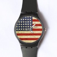 Custom Vintage American Flag Watches Classic Black Plastic Watch WT-0768
