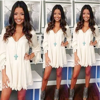 White V-Neck Bottoming Lace Dress
