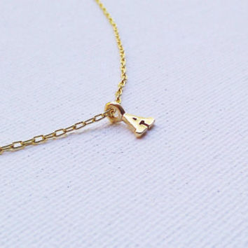 Gold Initial Necklace - Tiny Little Initial Charm - Personalized Jewelry