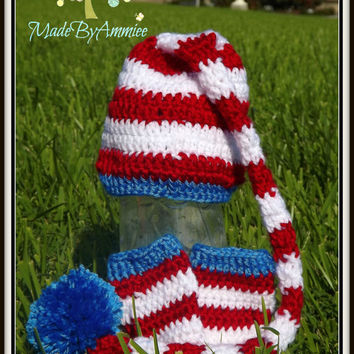 Baby Long Tailed Red White Blue Pom Pom Hat with Legwarmers, Infant Pompom hat, Newborn Photoprop, Dr Suess Inspired Style Hat