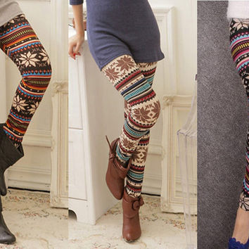 Funky retro Women's Soft Knitted Multi-Colored Stripe Snowflakes Leggings Tights