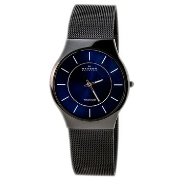 Skagen 233LTMN Men's Blue Dial Black Titanium Mesh Bracelet Quartz Watch