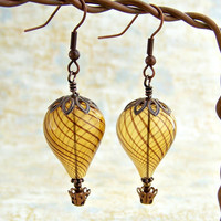 Hot Air Balloon Earrings - Steampunk balloon earrings in blown glass and copper  - Hot Air Balloon Jewelry - Steampunk Earrings