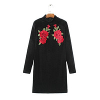 Tangada Fashion Black Velvet Women Dress Winter Floral Embroidery Standing Collar Long Sleeve Casual Cozy Brand Vestidos QJ74