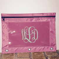 Monogrammed Pencil Three Ring Binder Pouch Personalized Back to School Pencil Pouch School Supplies Monogram Pencil Pouch