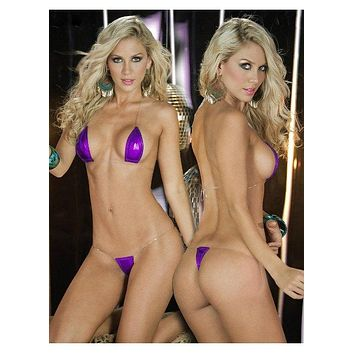 Extreme Purple Metallic Micro Halter Style Top and G-String Thong Bikini Set (Many colors available)