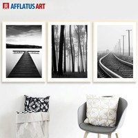 Bridge Railway Tree Landscape Nordic Posters And Prints Wall Art Canvas Painting Black White Wall Pictures For Living Room Decor