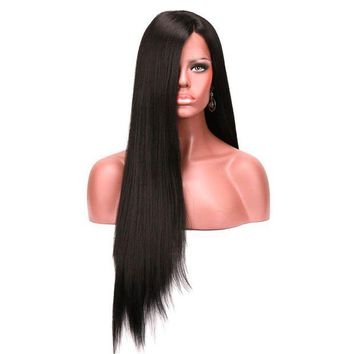LMFOK5 Heat Resistant Silky Straight Synthetic Lace Front Wig Long Black Wigs For African American Women