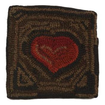 Homespice Primitive Heart Hooked Square Pillow