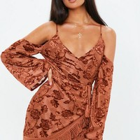 Missguided - Rust Burnout Cold Shoulder Fringe Dress