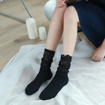 Fashion Black White Lace Socks Women Plain Solid Funny Socks Cotton Sexy For Ladies Hollow Out Autumn Summer Soft Pre-design