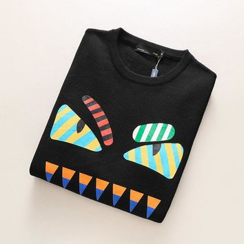 FENDI Demon Pattern Print Long Sleeve T-Shirt Top Tee Sweater Top I-A00FS-GJ