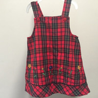 Vintage Baby Jumper, Red Plaid Toddler Dress, Sleeveless Jumper, Embroidered Flowers, Vintage Girls Dress, Embroidered Baby Dress 2T Kids 2