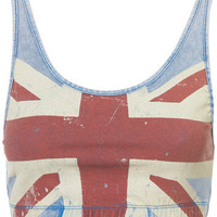 Topshop Union Jack Denim Bralet 14 42 Flag England Crop Cropped Top Stretch New on eBay!