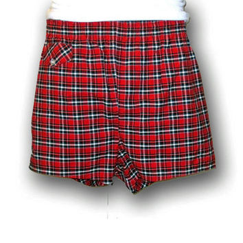 Vintage Rare 50s RED PLAID Checkered Penneys Surf Beach Medium Mad Men Style Lined Swim Shorts